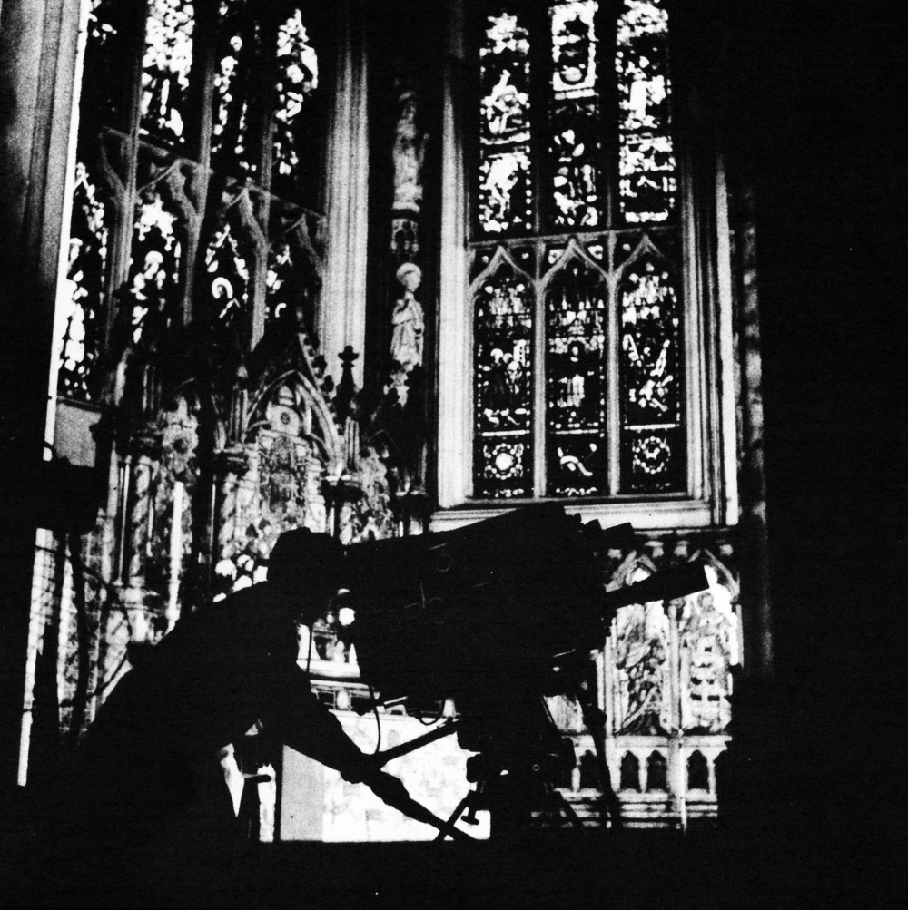 Bringing the Church into the home. An ABC Outside Broadcast camera silhouetted against the alter of the Parish Church, Leeds. Since 1958, the outside broadcast units have travelled thousands of miles throughout Lancashire, Yorkshire and the Midlands to make Sunday morning Church services a reality to the vast congregation of the old and the infirm who are kept at home.