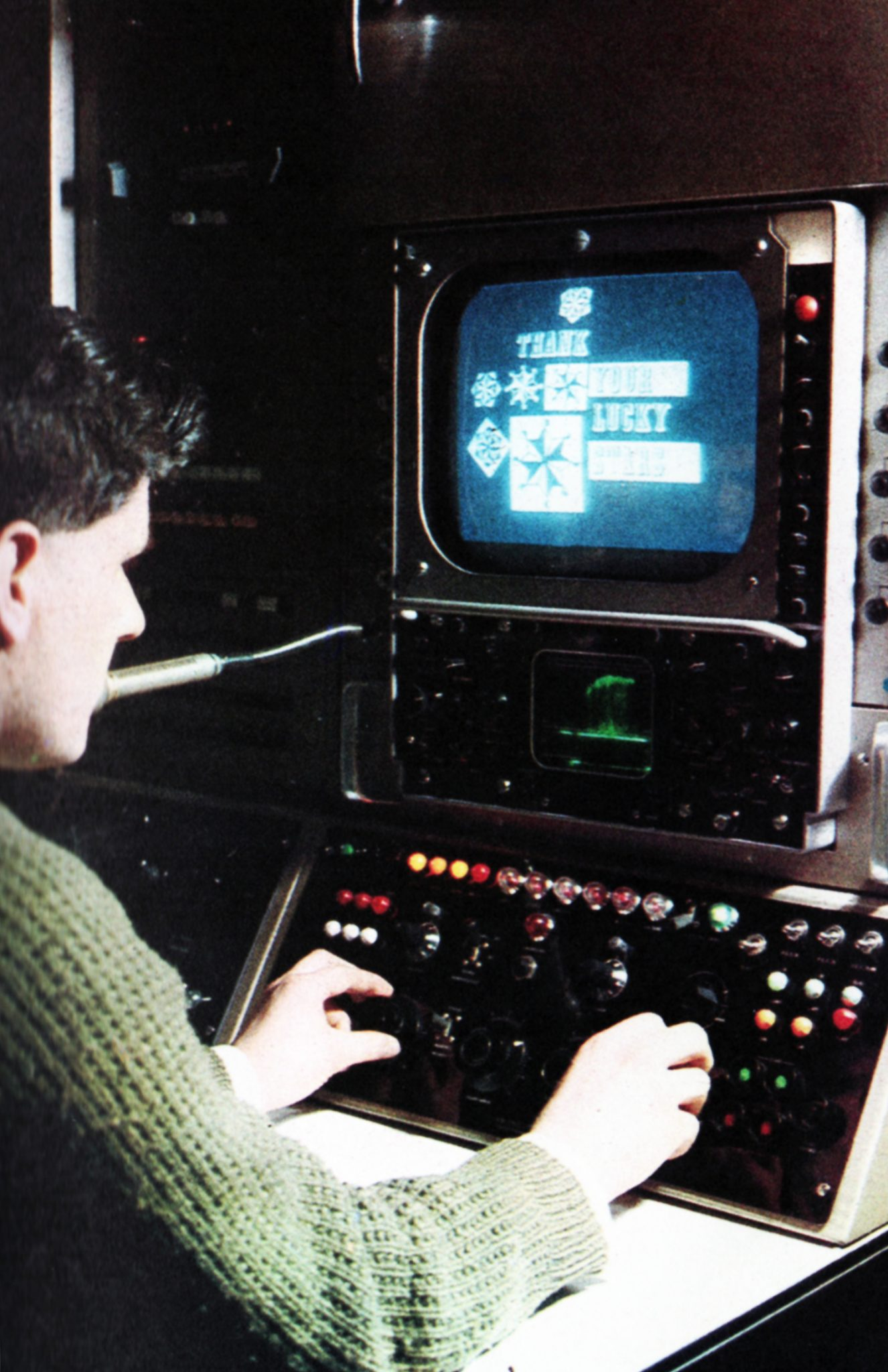 Telecine control; with supervisor monitoring picture and sound output from his suit. The allied equipment can scan 35 and 16 mm film, slides, caption cards, roller captions, and VTR clock; all selected and operated from the point of picture destination, a studio control suite or Master Control.